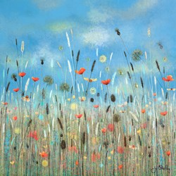 Look Up to the Sky by Jo Starkey - Original painted on Silk on Board sized 28x28 inches. Available from Whitewall Galleries